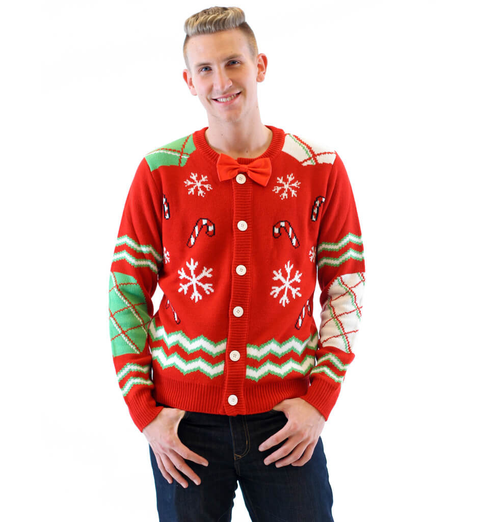 Candy Canes And Snowflakes Button Up Ugly Christmas Sweater With Bowtie
