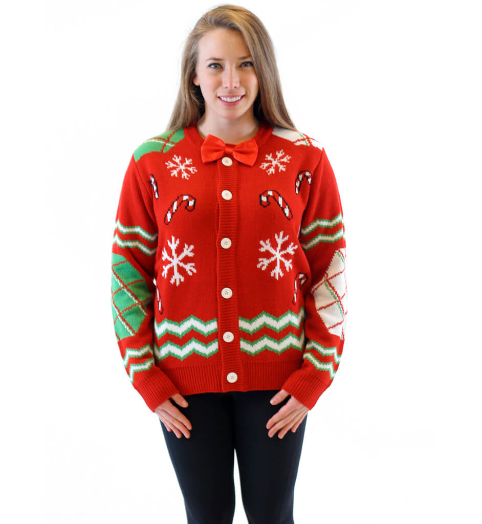 Womens Candy Canes And Snowflakes Button Up Ugly Christmas Sweater