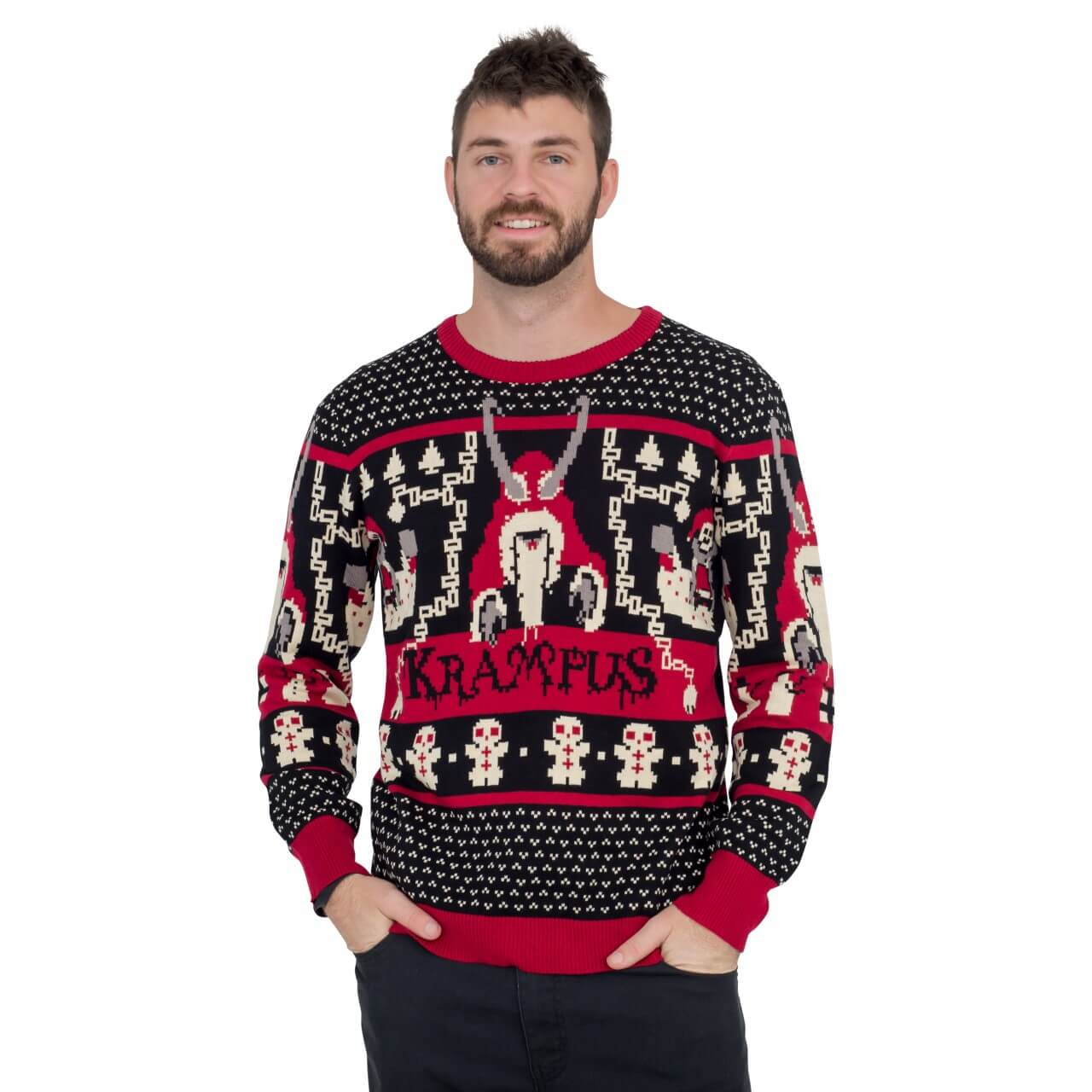 Ugly Christmas Sweaters.Krampus Knit Ugly Christmas Sweater
