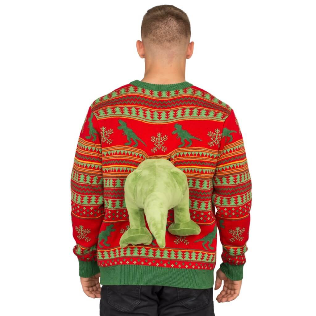 3d T Rex Plushie Ugly Christmas Sweater