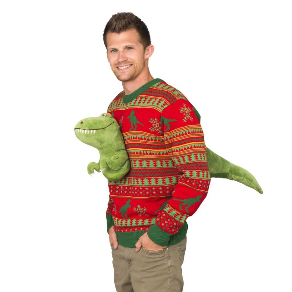 Dinosaur Christmas Sweater.3d T Rex Plushie Ugly Christmas Sweater