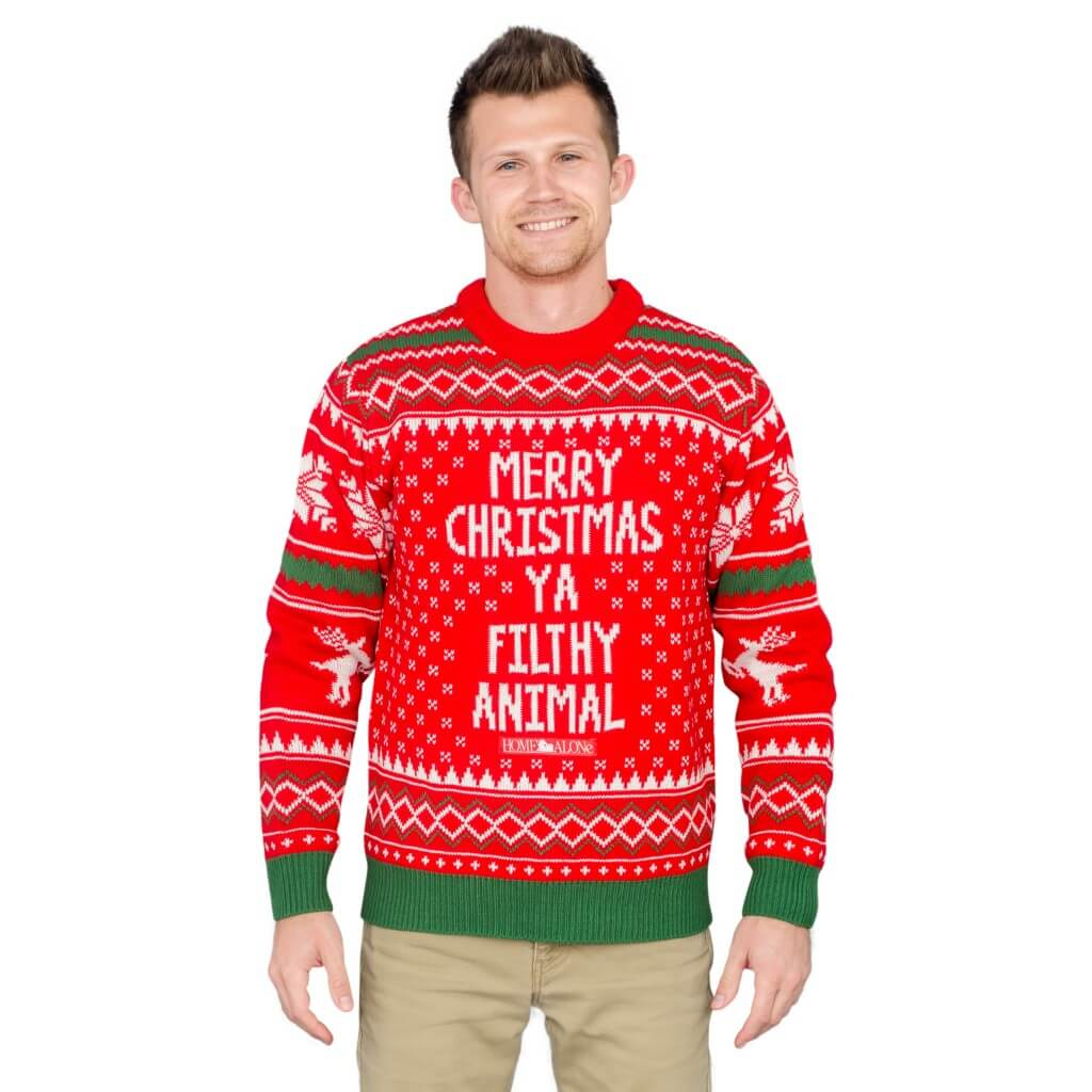 2e98668b7c5 Merry Christmas Ya Filthy Animal Snowflake and Reindeer Ugly Sweater