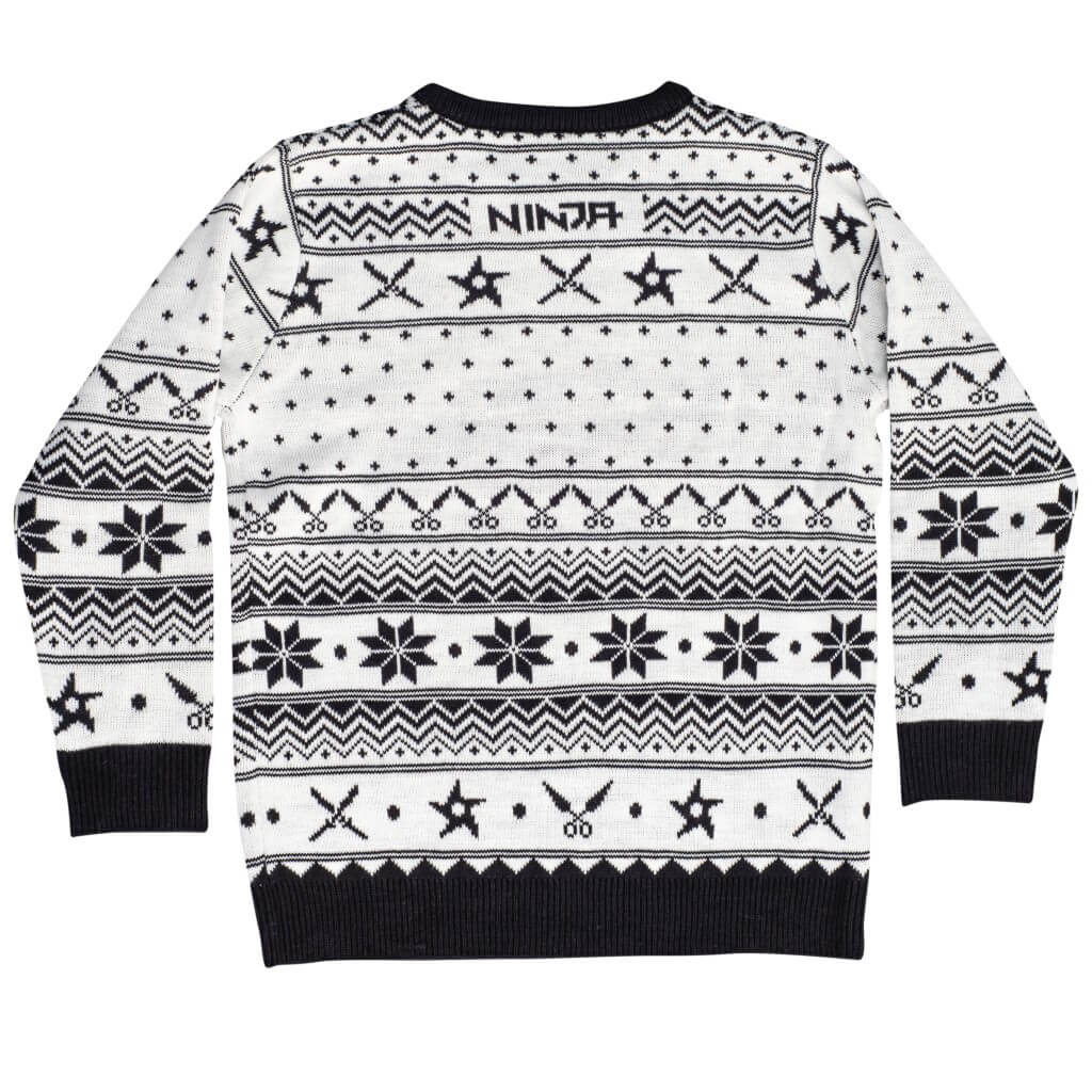 ec2135f87a56 Ninja Black and White Christmas Pattern Ugly Sweater