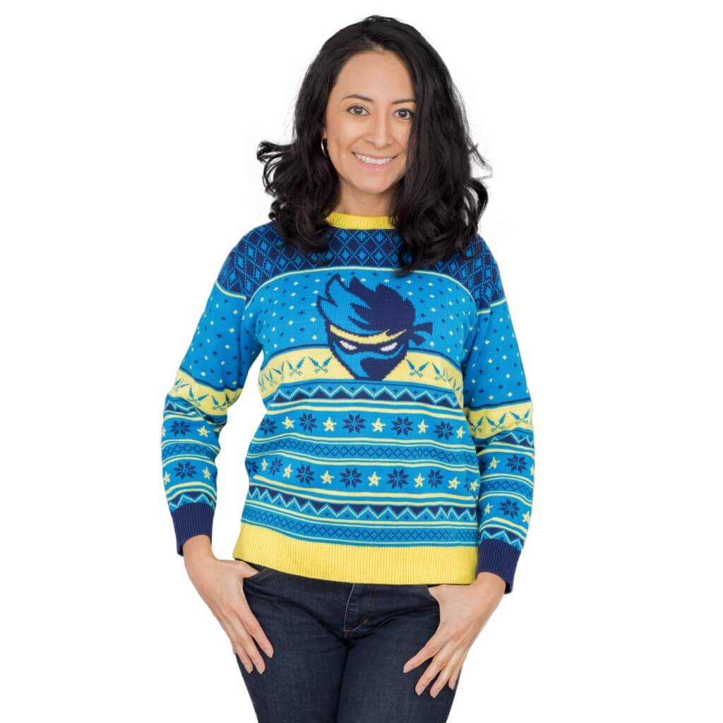 7f78565b9147 Womens Ninja Blue and Yellow Ninja Logo Christmas Pattern Ugly Sweater