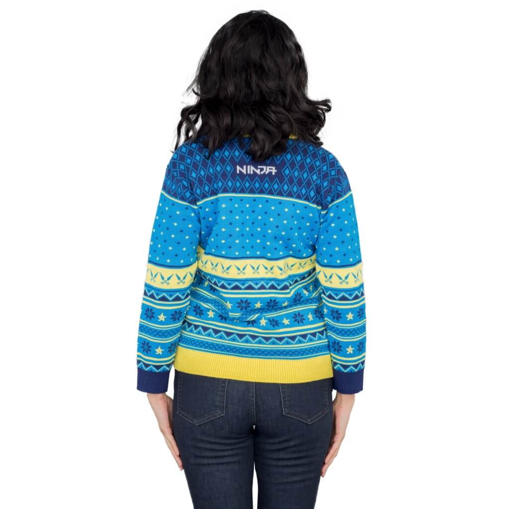 5d7979c08b3b ... Womens Ninja Blue and Yellow Ninja Logo Christmas Pattern Ugly Sweater
