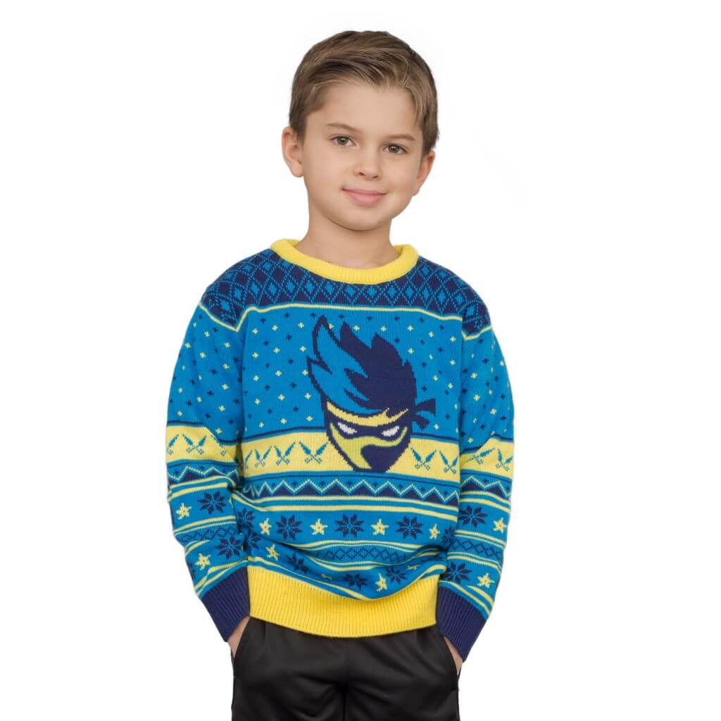 757053af8ef4 Kids Ninja Blue and Yellow Ninja Logo Christmas Pattern Ugly Sweater