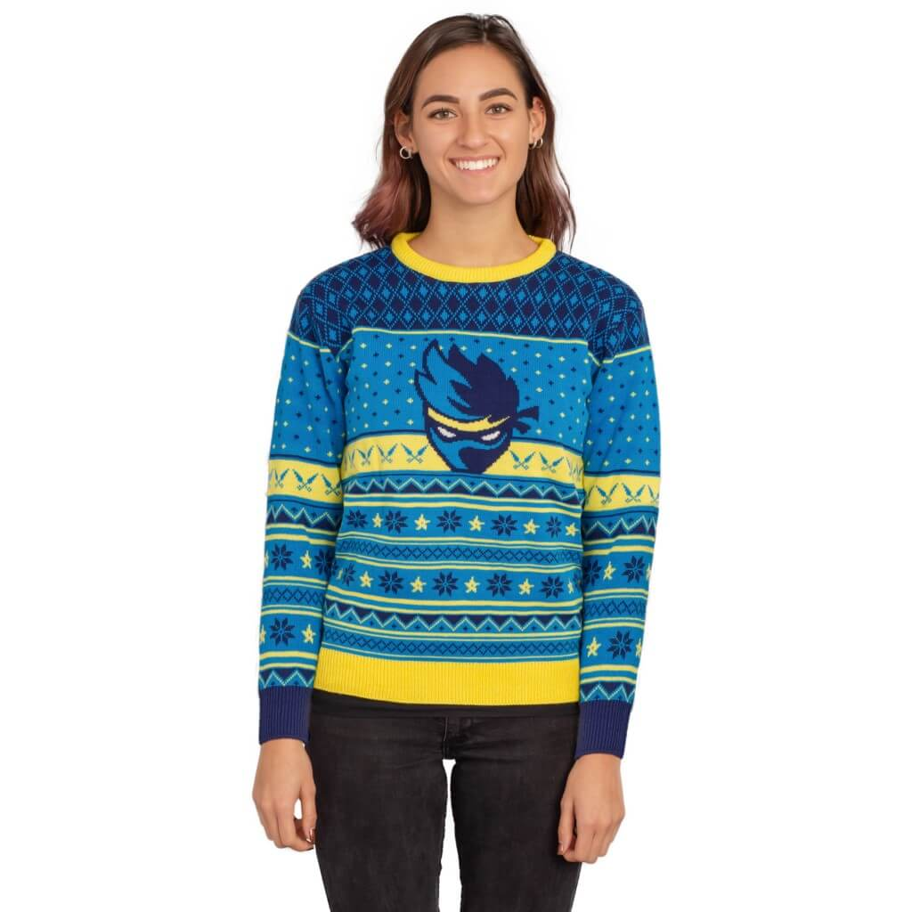 095f7767aaf1 ... Womens Ninja Blue and Yellow Ninja Logo Christmas Pattern Ugly Sweater  ...