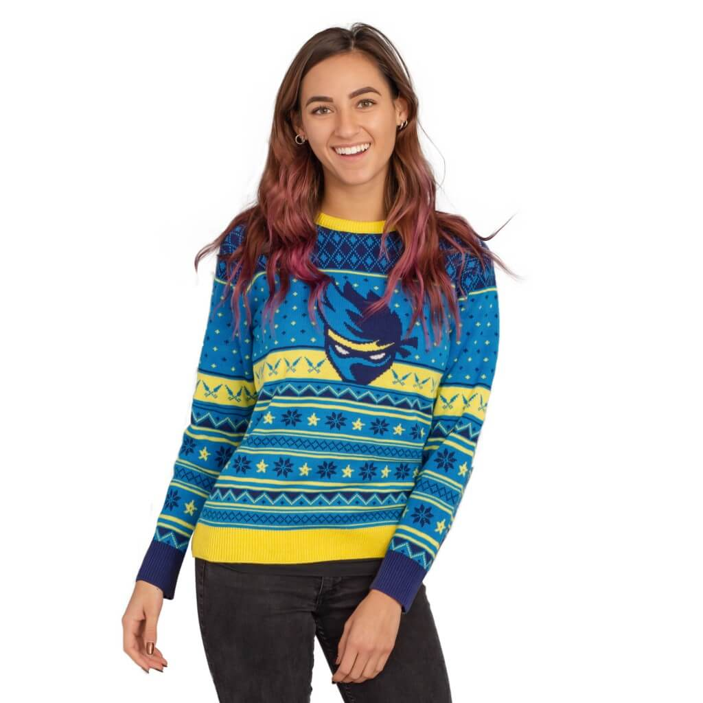 ca6f348410cd Womens Ninja Blue and Yellow Ninja Logo Christmas Pattern Ugly Sweater ...