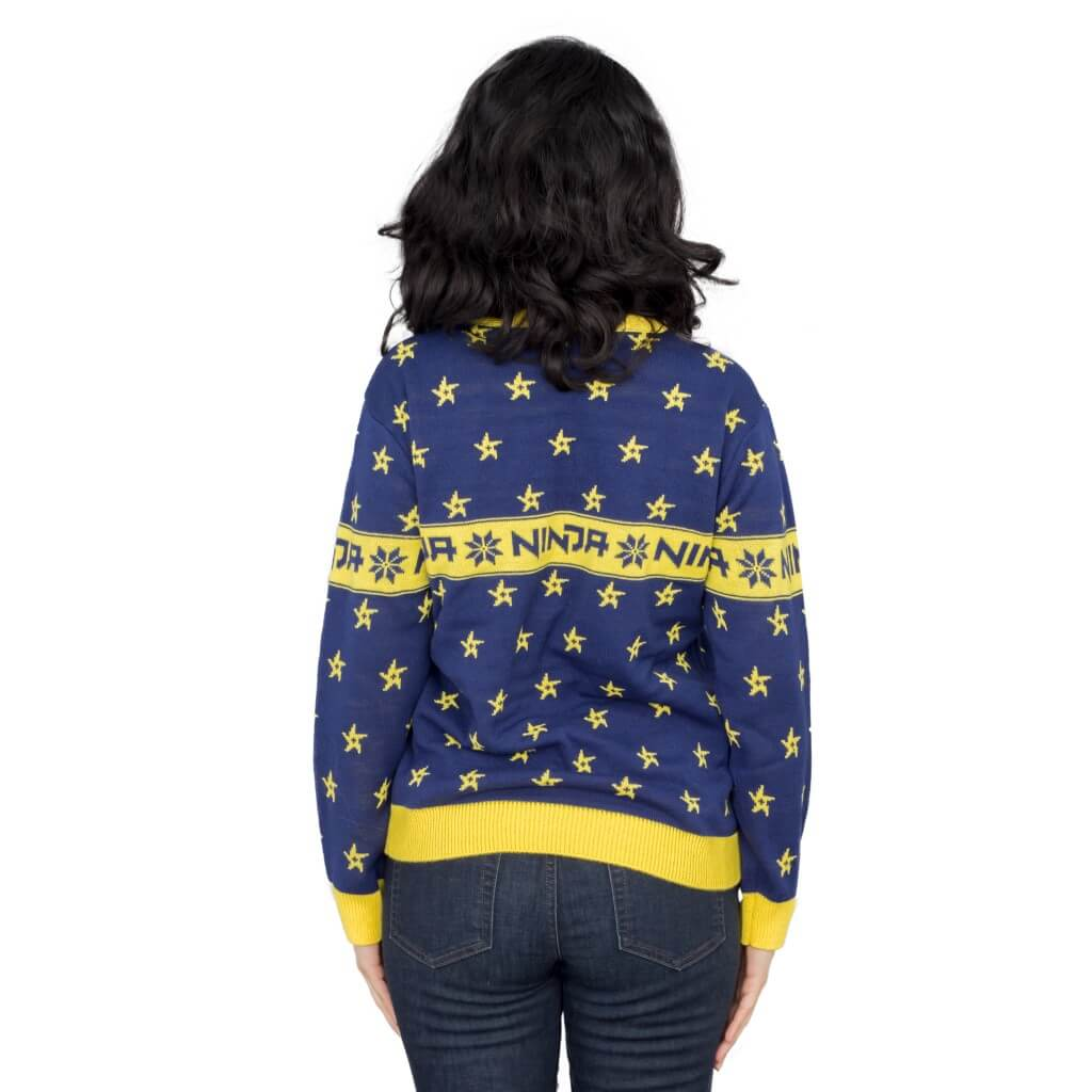 cd397db09595 Ninja Navy and Yellow Ninja Stars Pattern Ugly Sweater ...