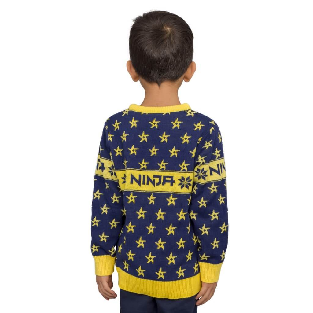6dd2a0898f87 Kids Ninja Navy and Yellow Ninja Stars Pattern Ugly Sweater