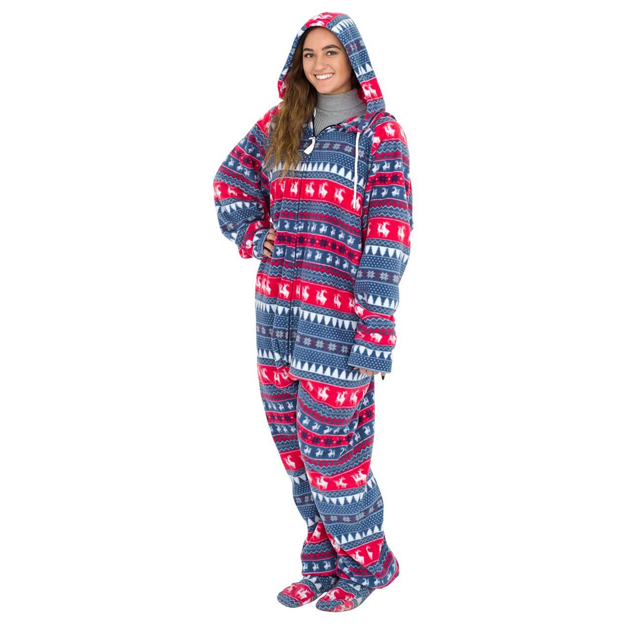c9e1887ec13b Red and Navy Humping Reindeer Ugly Christmas Pajama Suit with Hood Back  Side ...