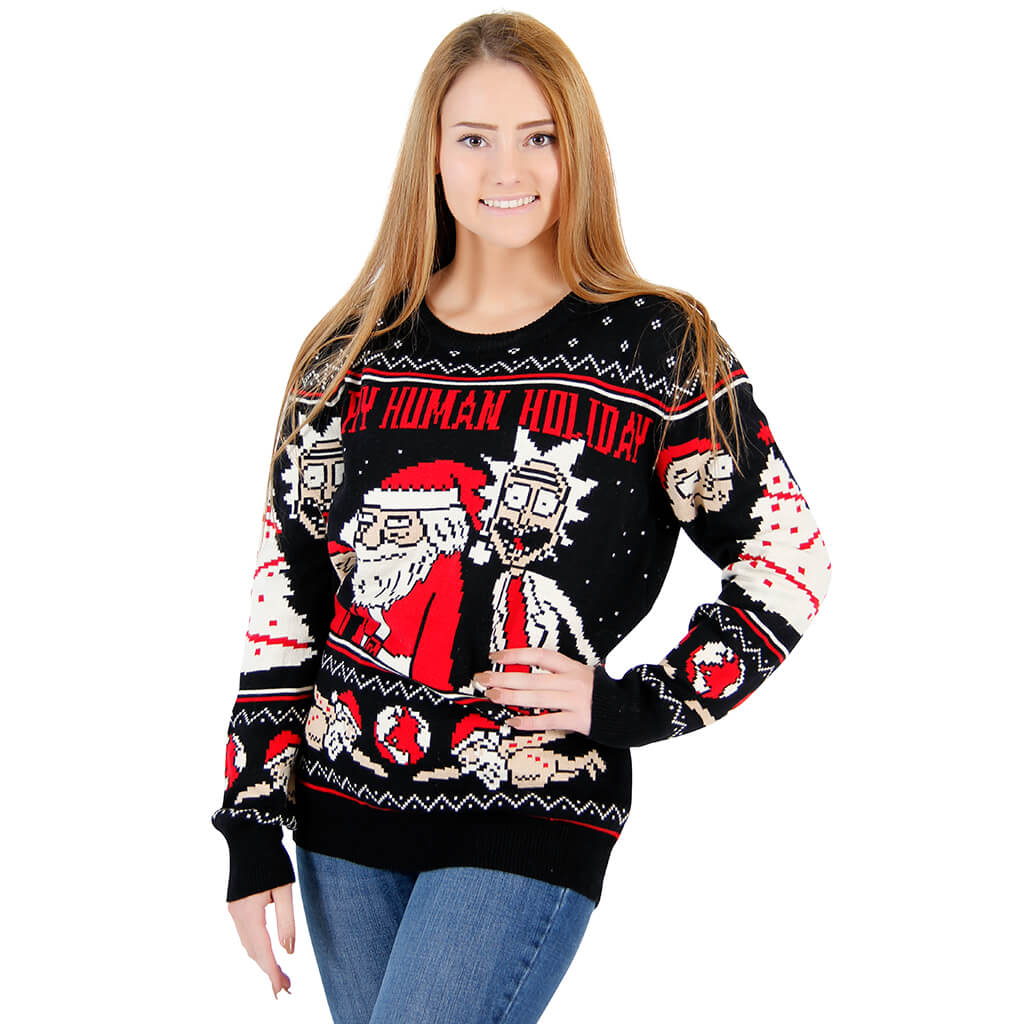 Women\'s Rick and Morty Happy Human Holiday Ugly Christmas Sweater