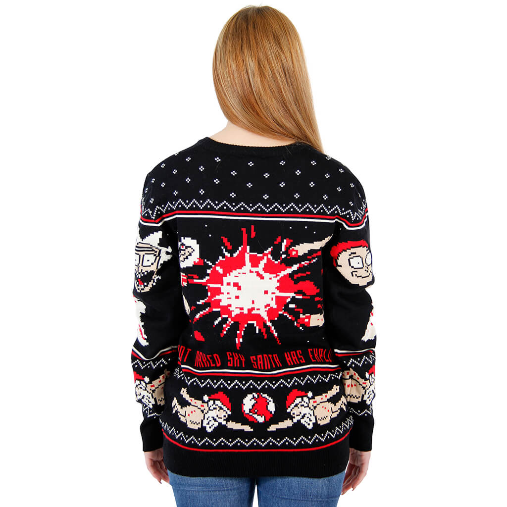 Womens Rick And Morty Happy Human Holiday Ugly Christmas Sweater