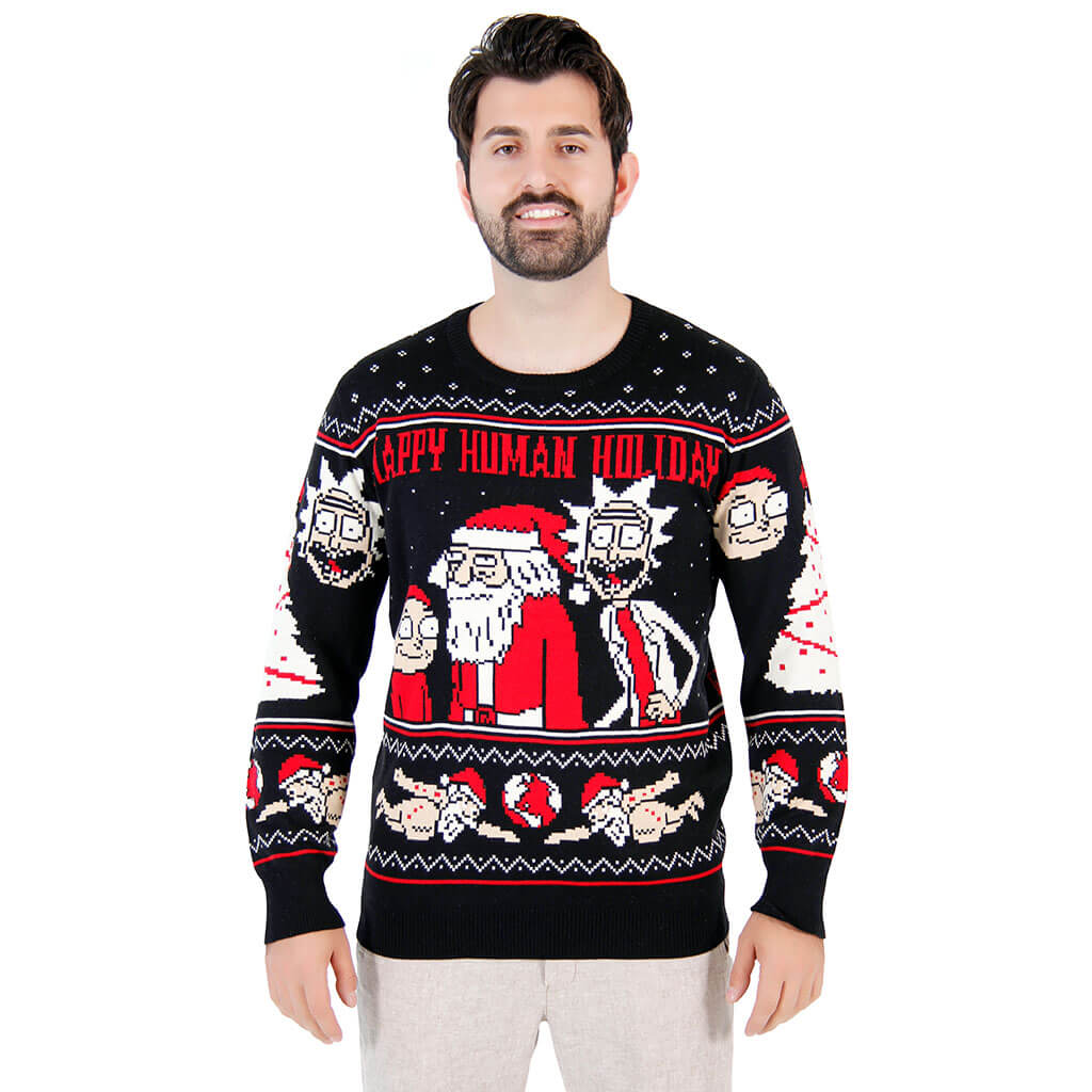 Rick And Morty Christmas.Rick And Morty Happy Human Holiday Ugly Christmas Sweater