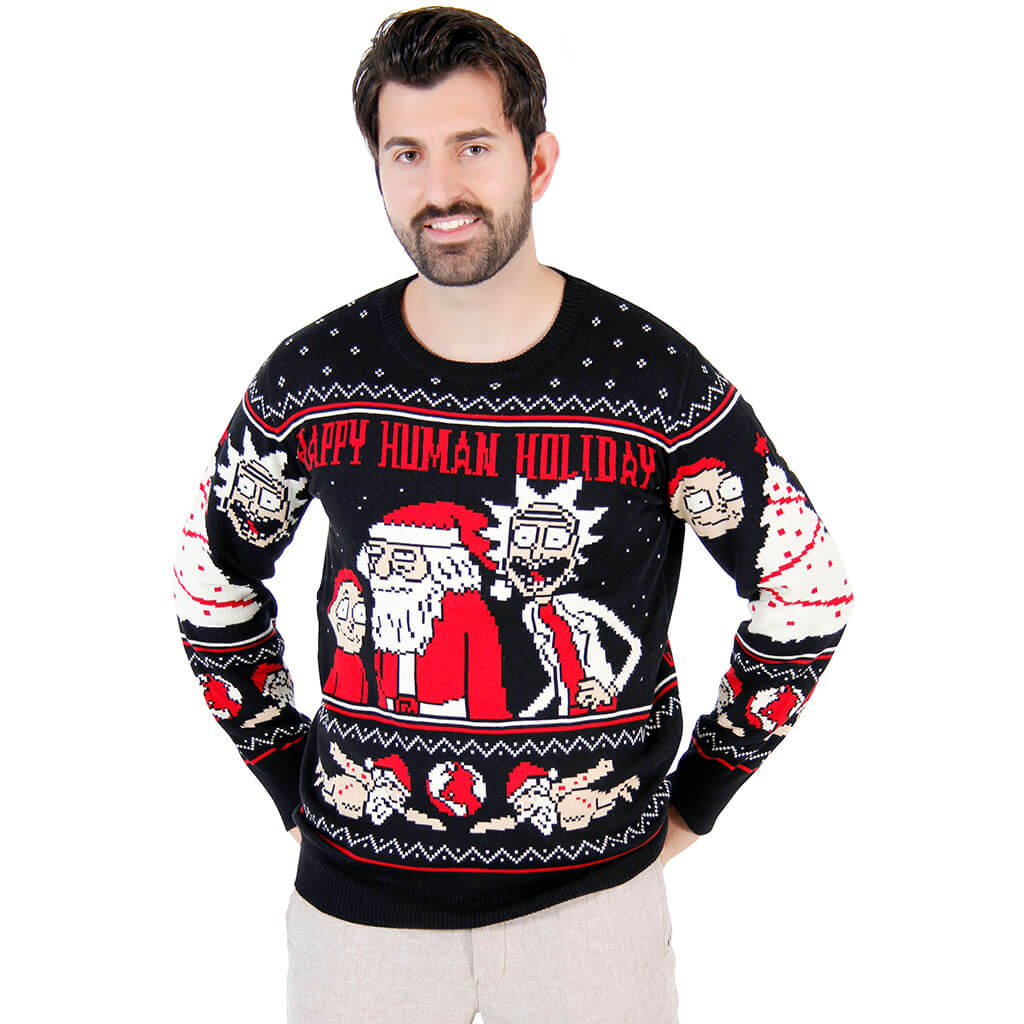 rick and morty happy human holiday ugly christmas sweater - Best Place To Buy Ugly Christmas Sweaters