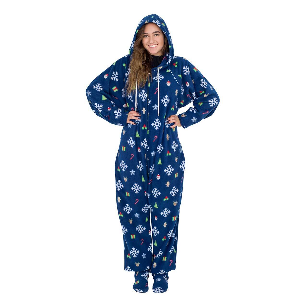 d8f287b7ee24 Snowflakes and Reindeer Navy Ugly Christmas Pajama Suit with Hood