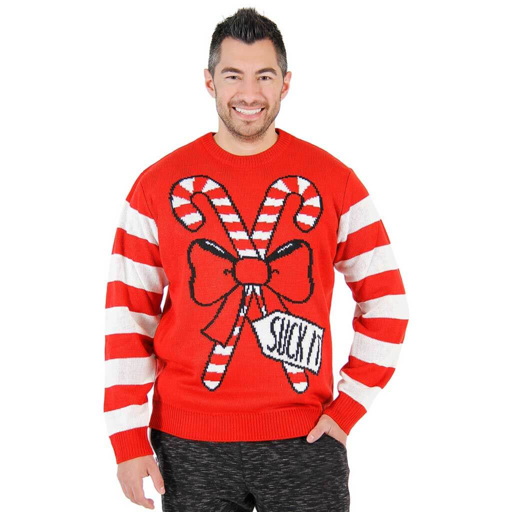 suck it candy cane funny ugly sweater - Funny Christmas Sweater