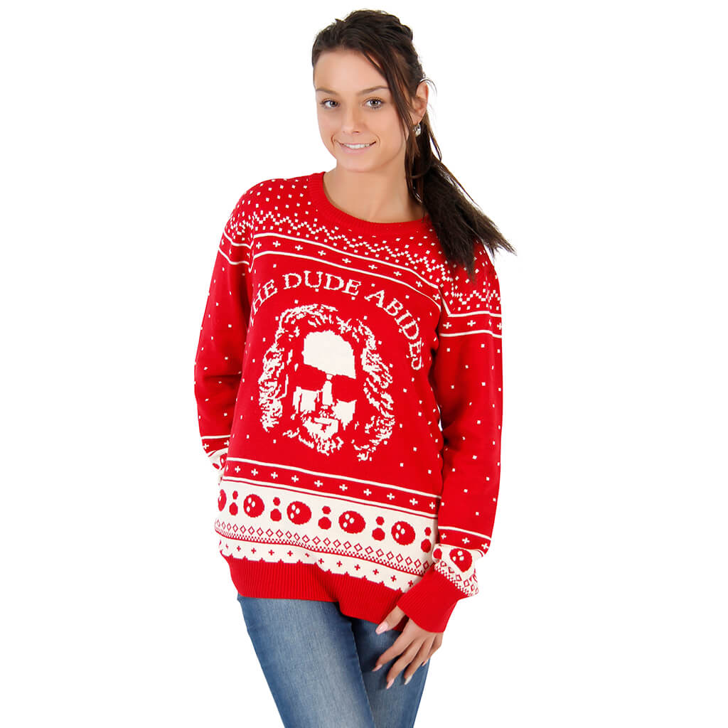womens the big lebowski the dude abides ugly christmas sweater - Cheap Mens Ugly Christmas Sweater