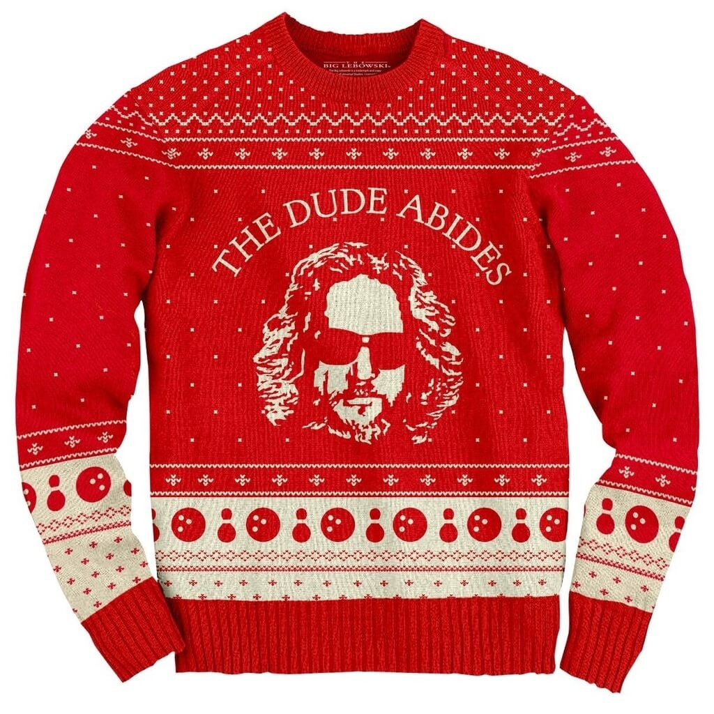 Big Lebowski The Dude Abides Ugly Christmas Sweater