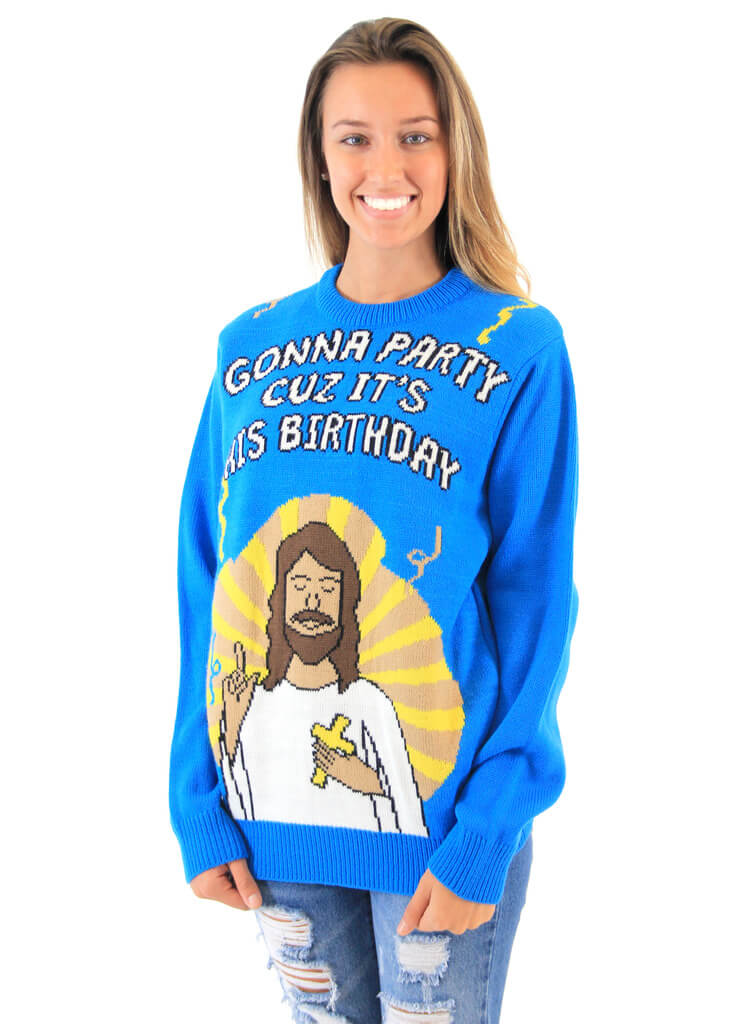 Women\'s Gonna Party Cuz It\'s His Birthday Jesus Ugly Christmas Sweater