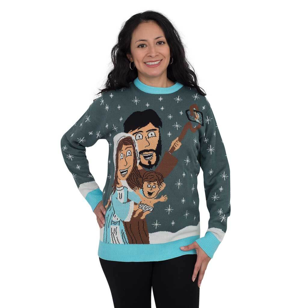 Women's Baby Jesus Family Selfie Ugly Christmas Sweater
