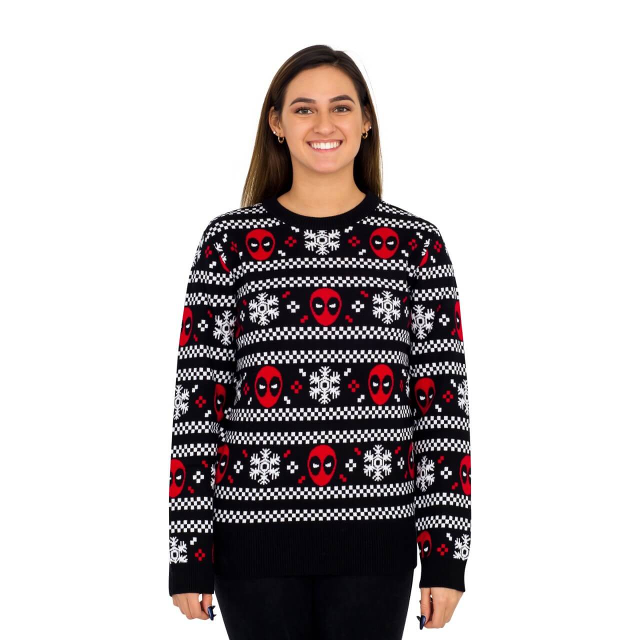 b038c01116 Women s Deadpool Holiday Snow Stripes Ugly Christmas Sweater