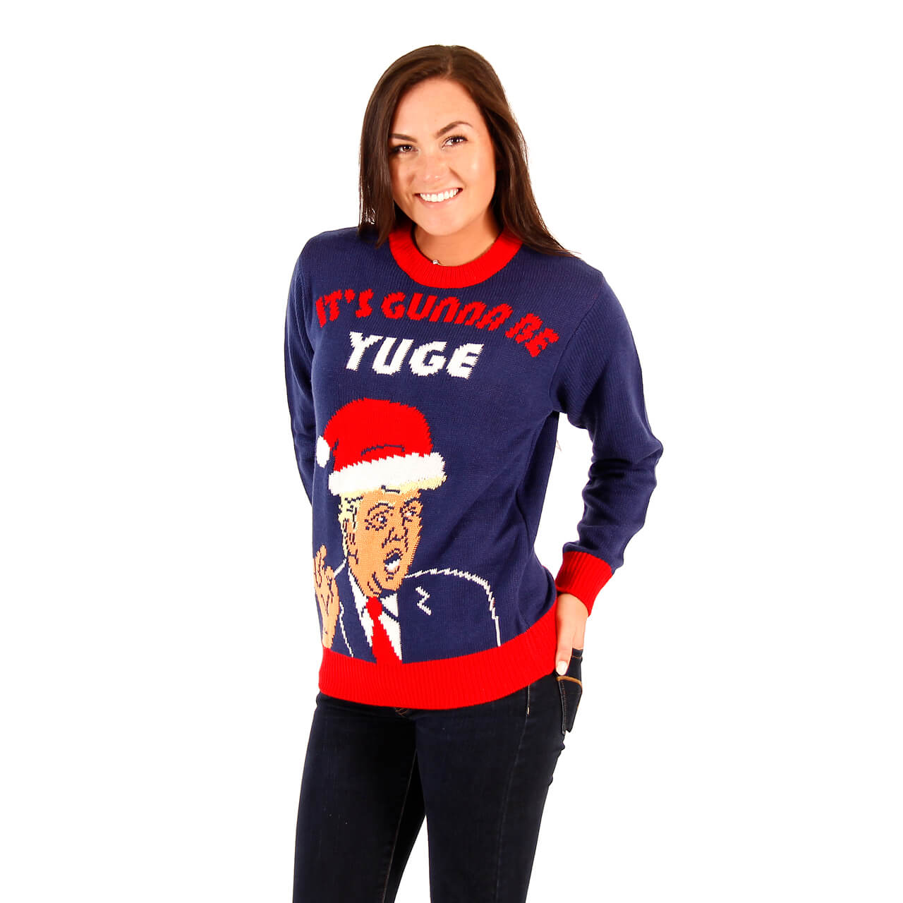 Trump Christmas Sweater.Women S Donald Trump It S Gunna Be Yuge Ugly Christmas Sweater