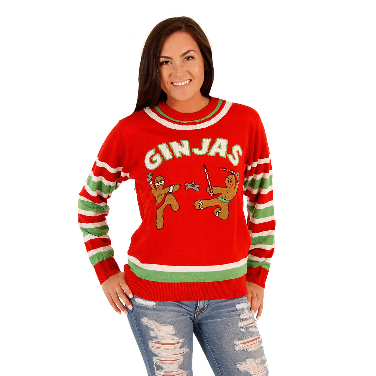 Women\u0027s Fighting Ginjas Gingerbread Ninjas Funny Christmas Ugly Christmas  Sweater