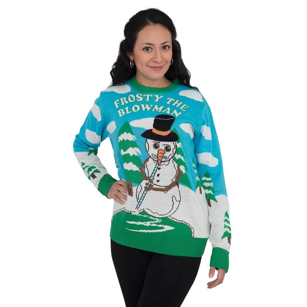 39715108f0 Women s Frosty the Blowman Snowman Ugly Christmas Sweater