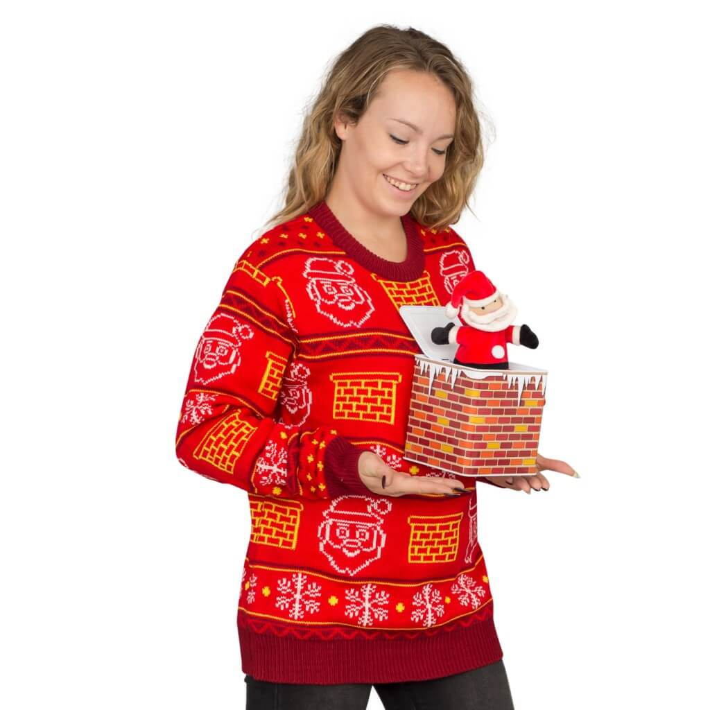 Women\'s Jack in the Box Santa Claus 3D Ugly Christmas Sweater