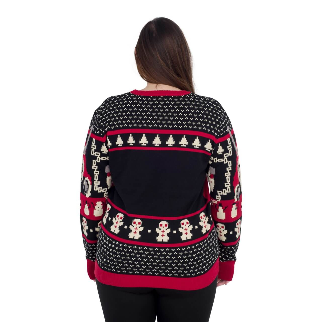 womens krampus knit ugly christmas sweater back