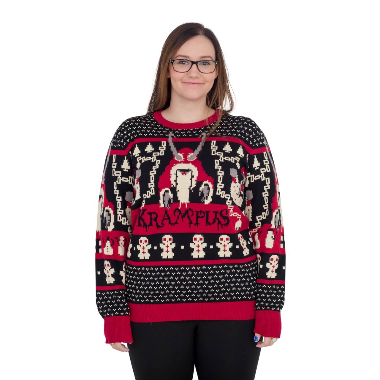c25a2fbee049e Women s Krampus Knit Ugly Christmas Sweater