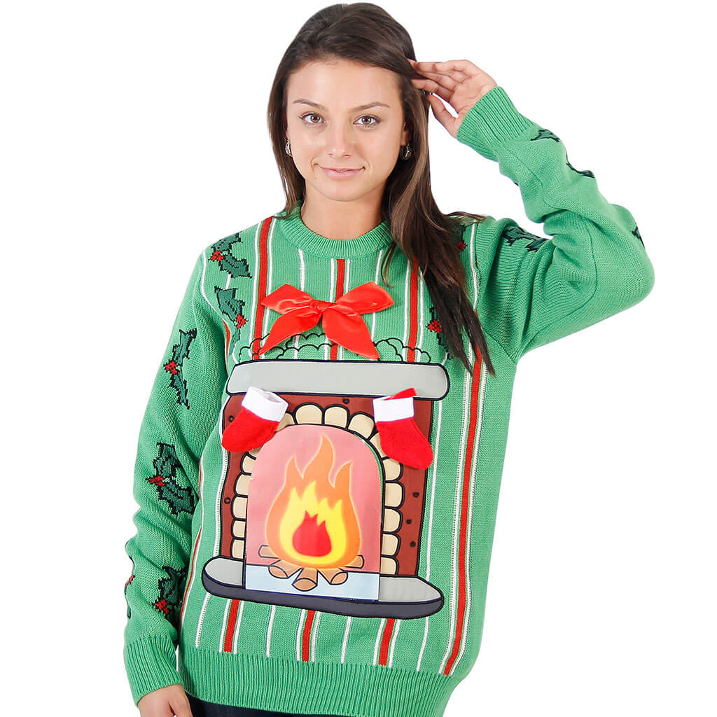 Fireplace Sweater 80 39 s vintage lightup ugly christmas sweater ...