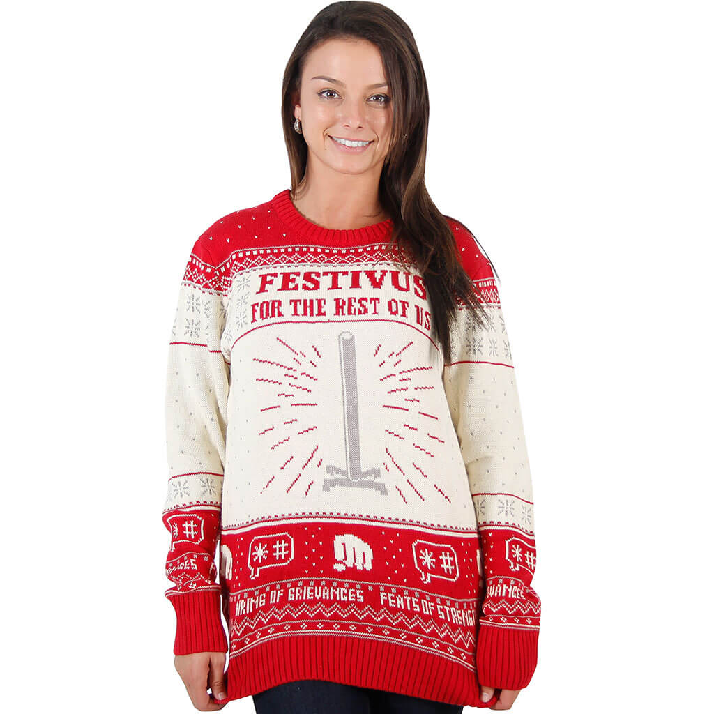 Seinfeld Christmas.Women S Seinfeld Festivus For The Rest Of Us Pole Ugly Christmas Sweater