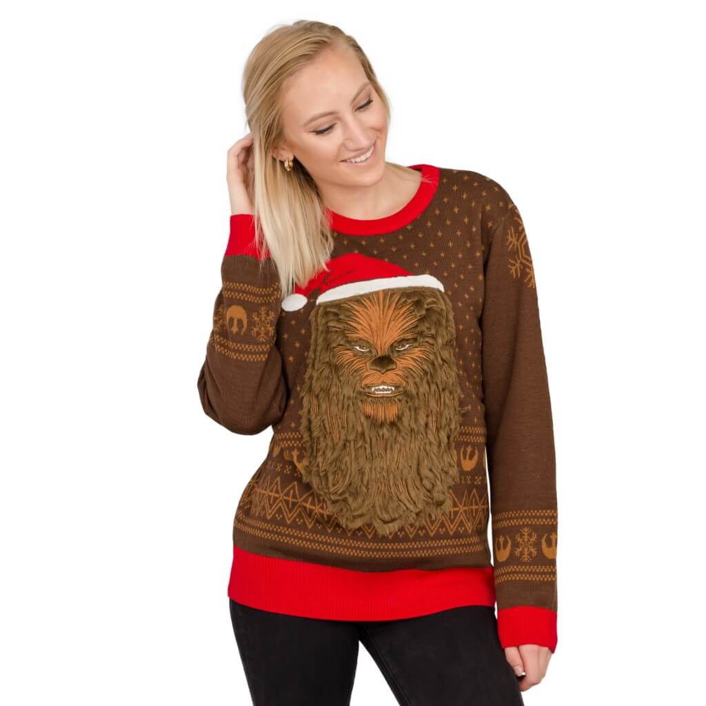 Womens Star Wars Chewbacca Furry Face With Santa Hat Ugly Sweater