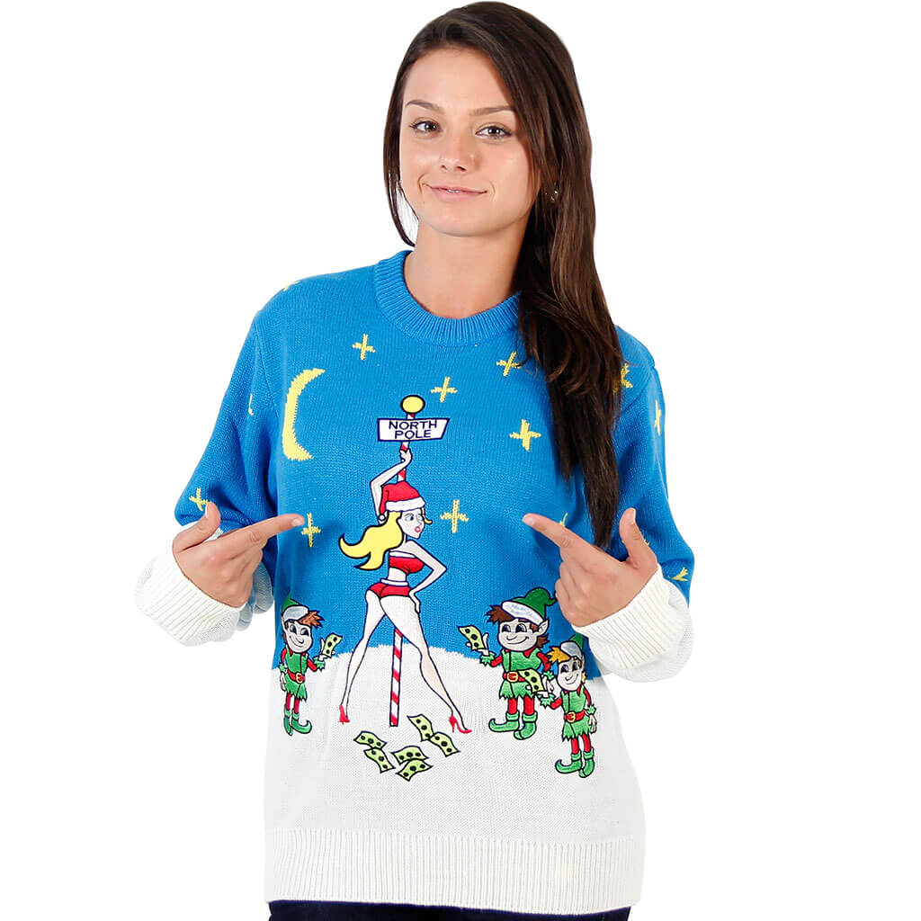 Funny Ugly Christmas Sweater.Women S Stripper Pole Ugly Christmas Sweater
