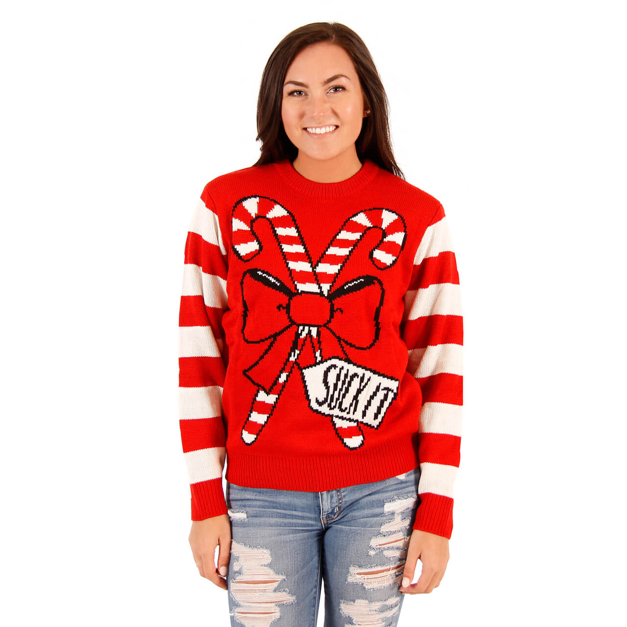 womens suck it candy cane funny ugly sweater
