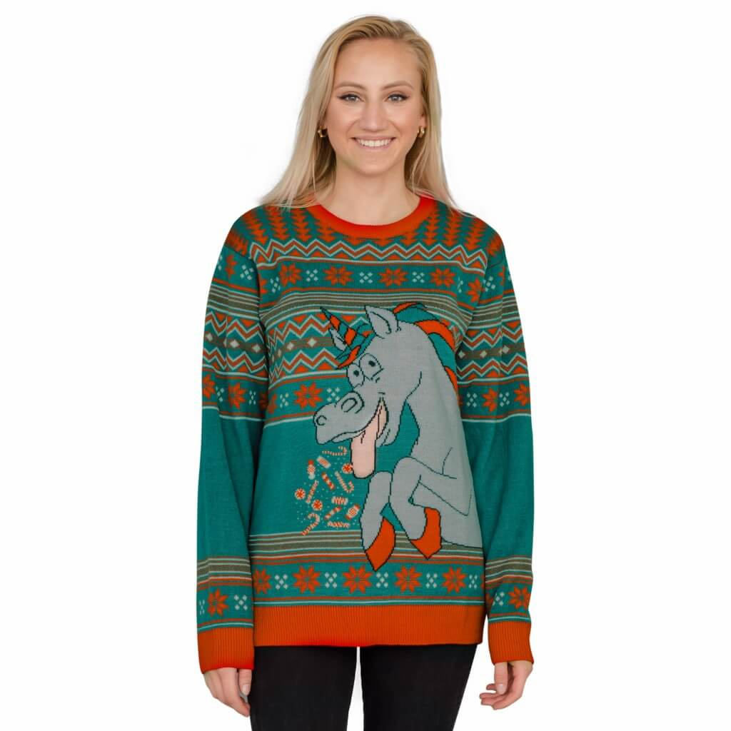 fcfe3cb1d62 Women s Unicorn Candy Canes and Star Dust Ugly Christmas Sweater