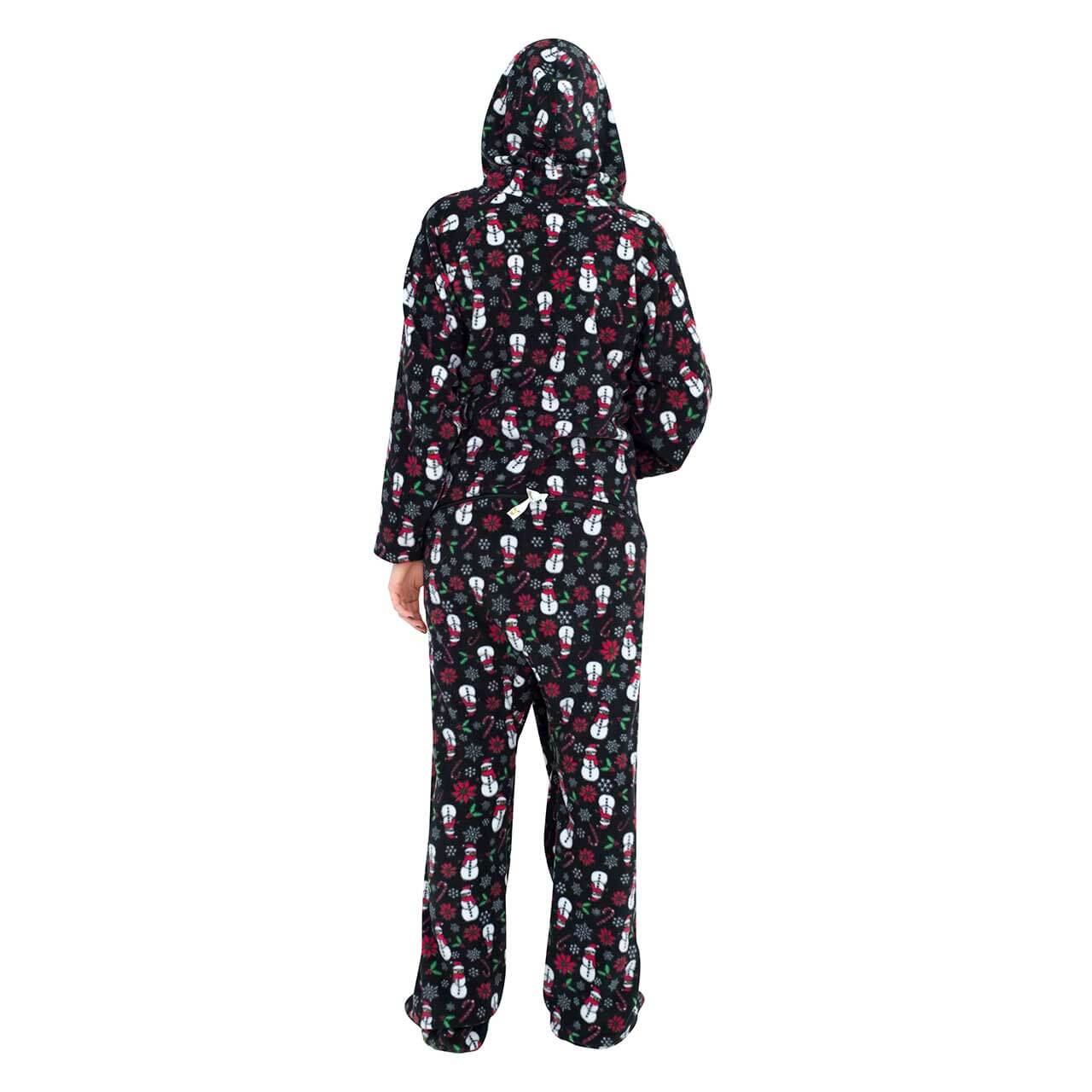 snowmen and candy canes black ugly christmas pajama suit with hoodxmas icons navy ugly christmas pajama suit with hood back