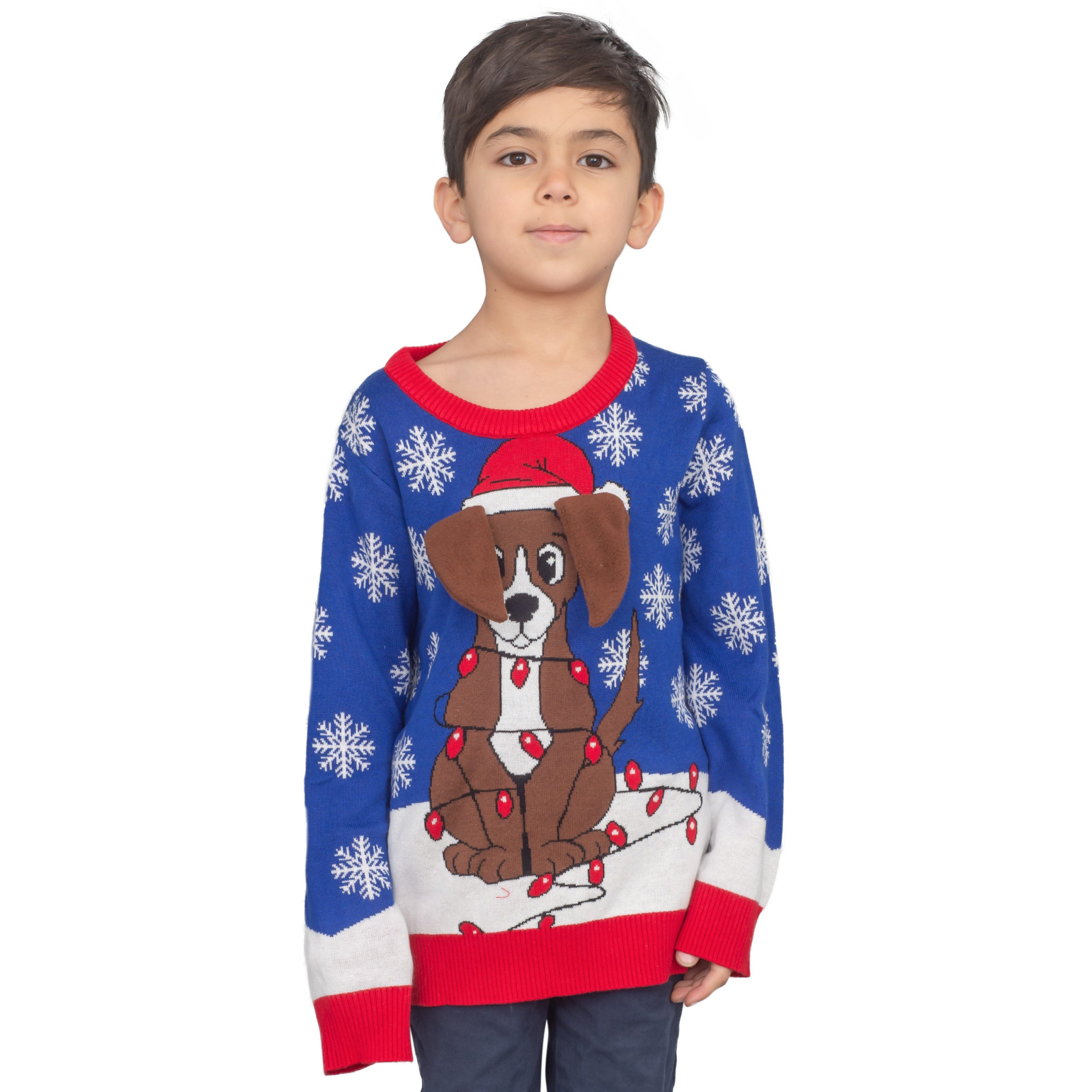 Youth Flappy Dog Animated Puppy Ears Ugly Christmas Sweater