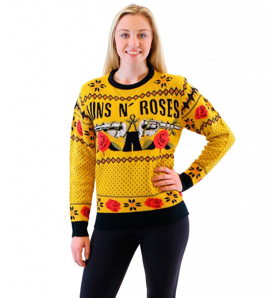 Guns N\' Roses Mustard Ugly Christmas Sweater - Ugly Christmas Sweaters