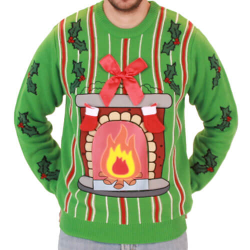 Buy Light up LED Fireplace Sweater at UglyChristmasSweater.com Ugly Christmas sweater fireplace with led lights you can make it move FAST Shipping. SHOP NOW!