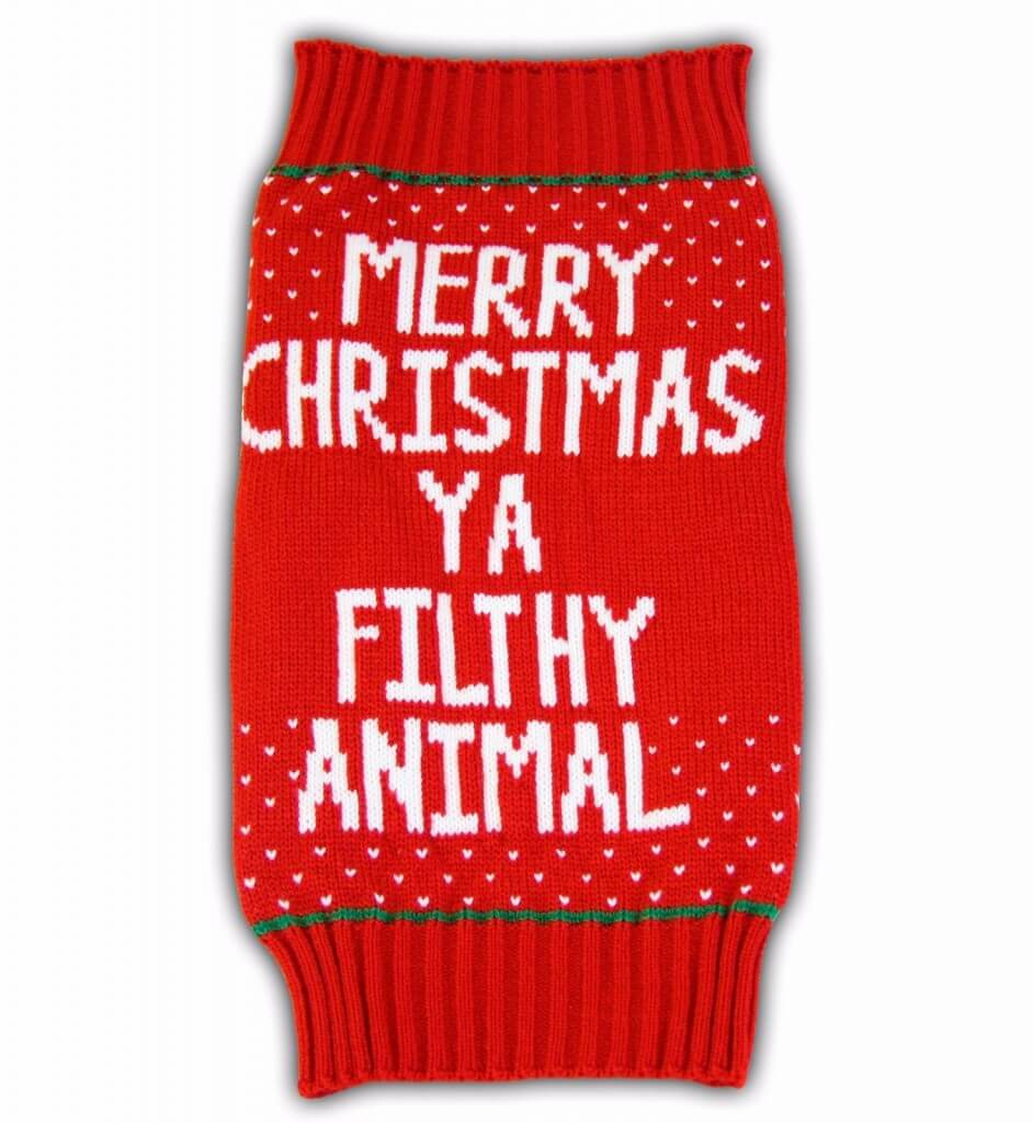 merry christmas ya filthy animal ugly christmas sweater for small pets