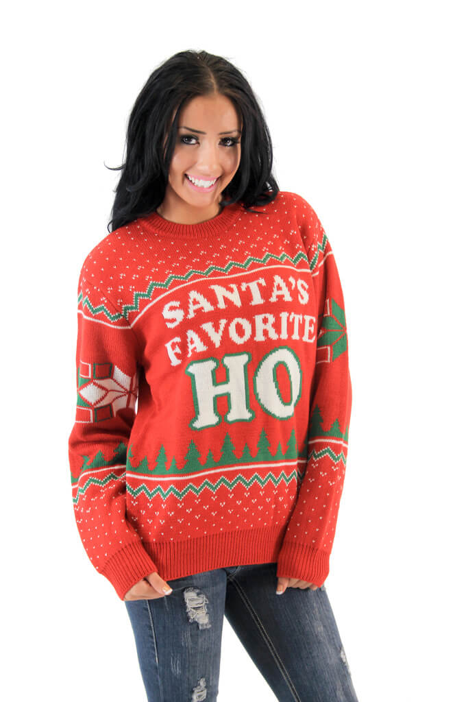 Santa's Favorite HO Tacky Christmas Sweater | Be Santa's Favorite Ho!