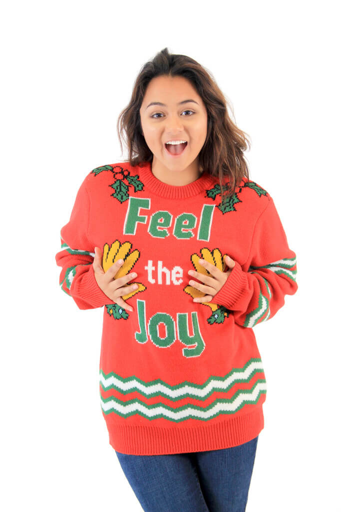 feel the joy hands tacky christmas sweater - Childrens Ugly Christmas Sweaters