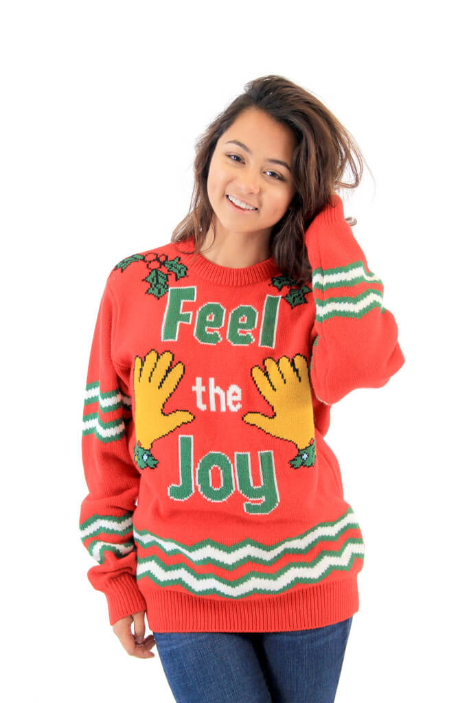 feel the joy hands tacky christmas sweater - Offensive Ugly Christmas Sweater