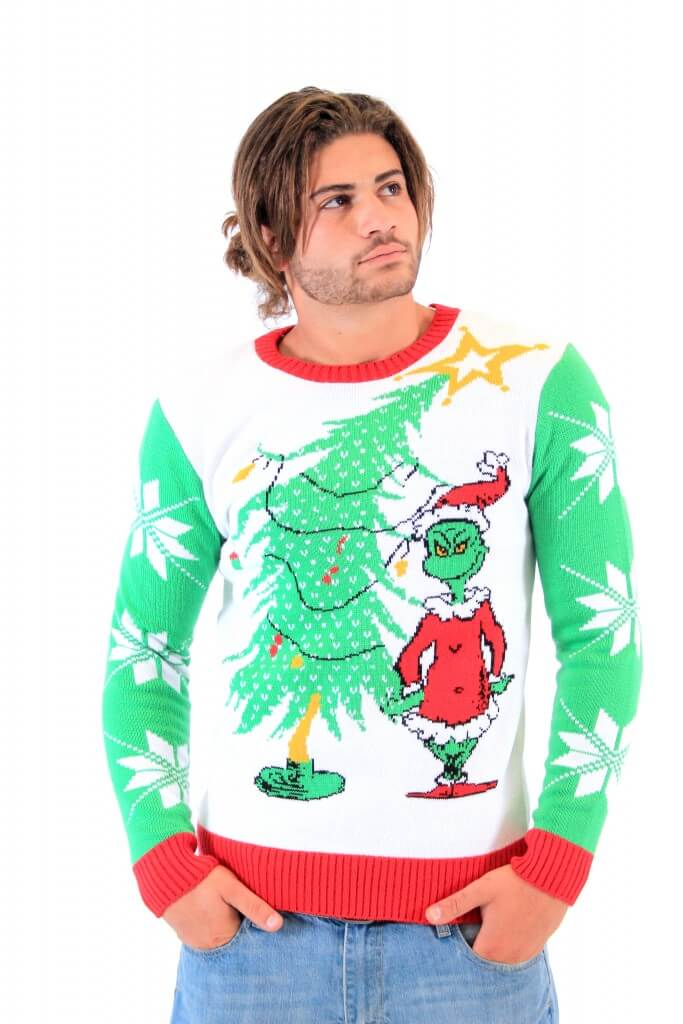 dr seuss grinch as santa next to tree adult off white sweater - Grinch Ugly Christmas Sweater