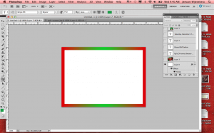 2. Place a gradient border using Christmas colors.