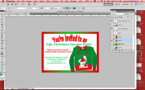5. Find a funny Christmas sweater online and insert it into the invite.