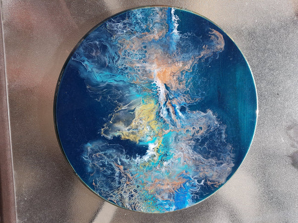 Resin Round - Blue Rainbow